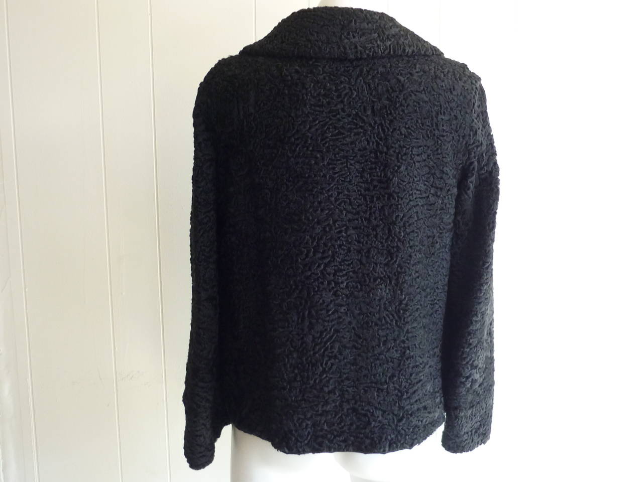 1940s - 50s Black Persian Lamb Jacket 6-8 In Excellent Condition In Port Hope, ON