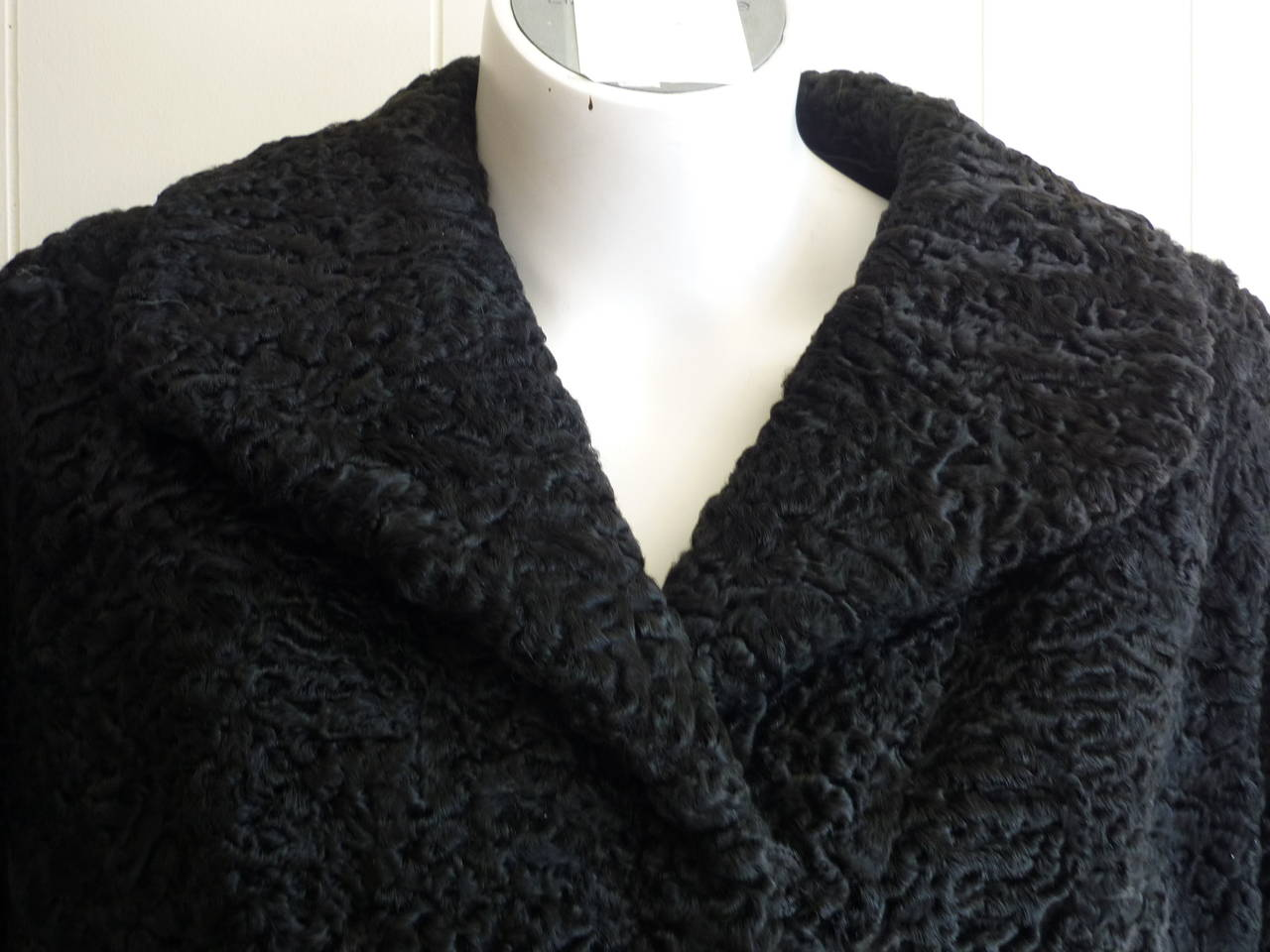 Women's 1940s - 50s Black Persian Lamb Jacket 6-8