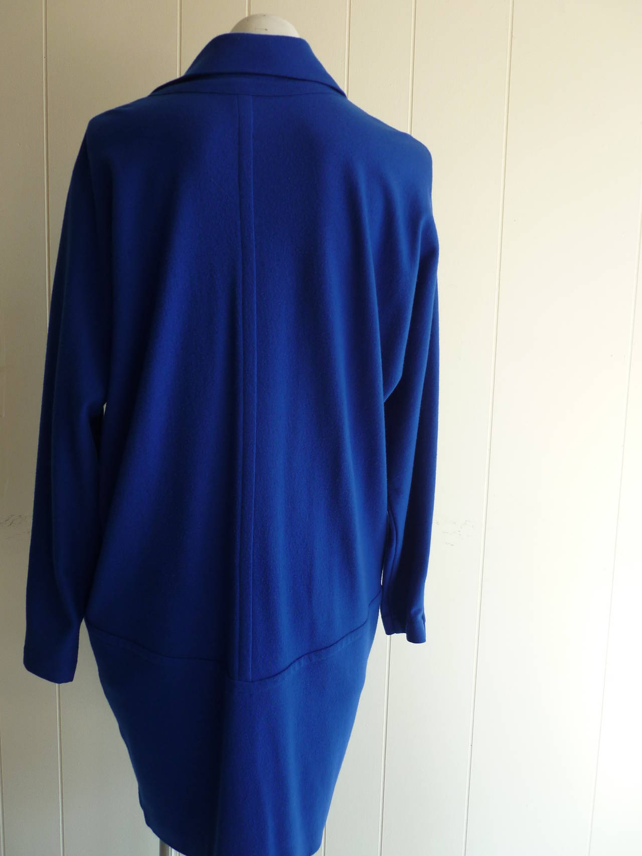 Purple 1990s Byblos Cobalt Blue Wool Dress  (44 Itl) For Sale
