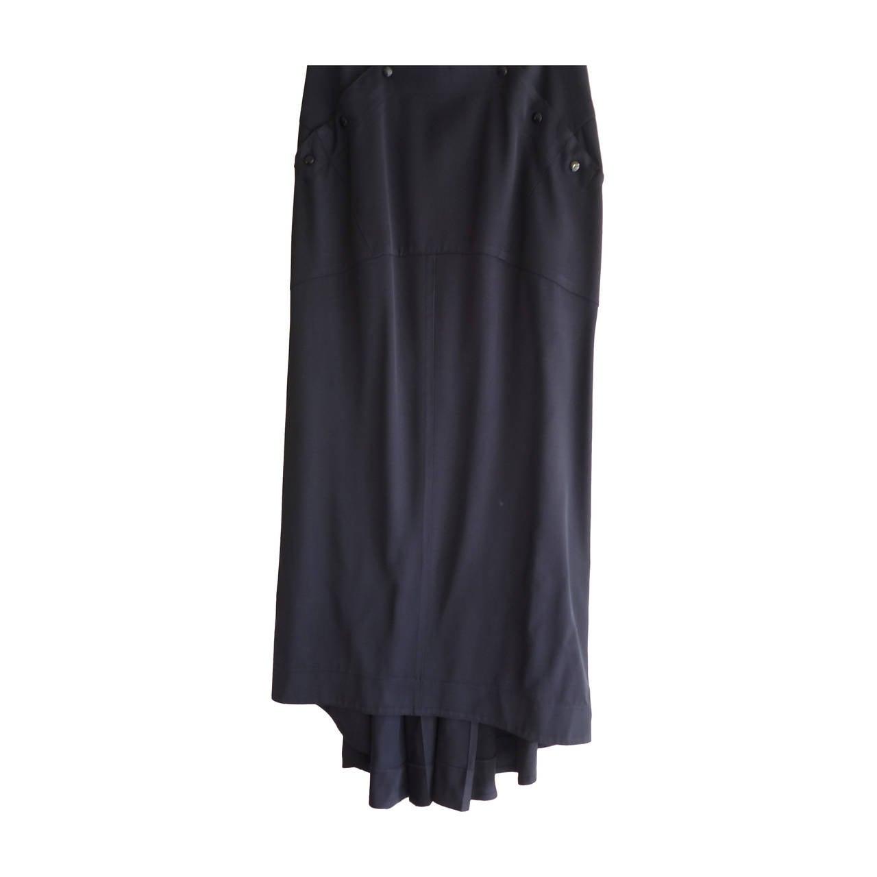 1980s Claude Montana Navy Blue Wool Bustle Skirt (40 ITL)