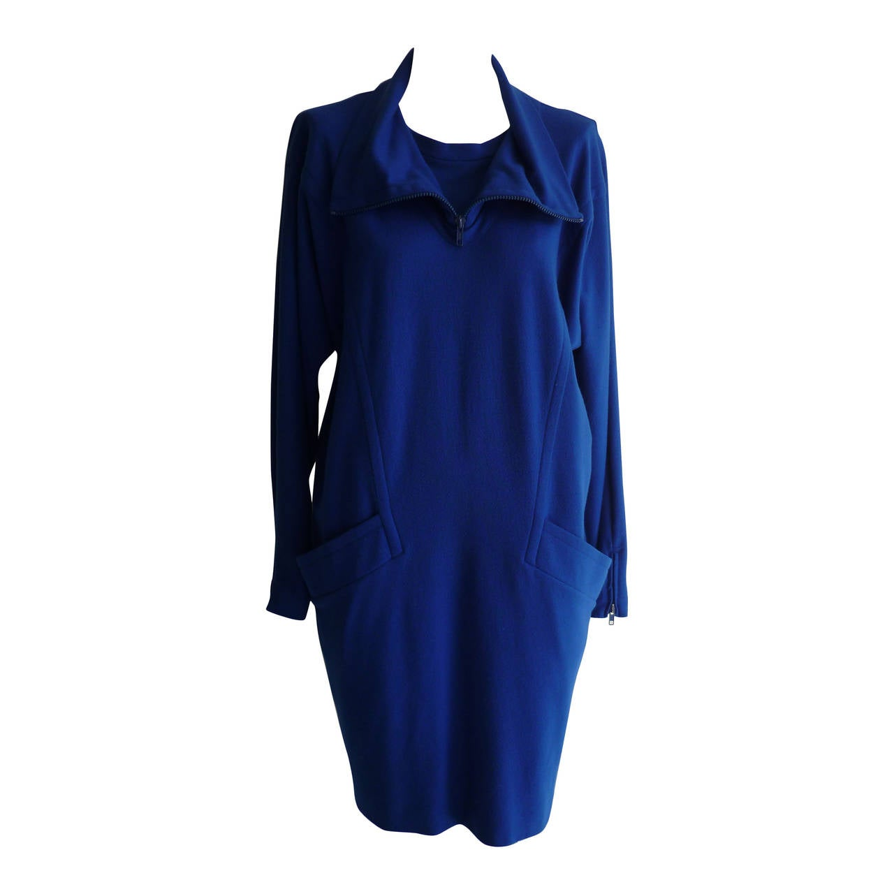 1990s Byblos Cobalt Blue Wool Dress  (44 Itl) For Sale