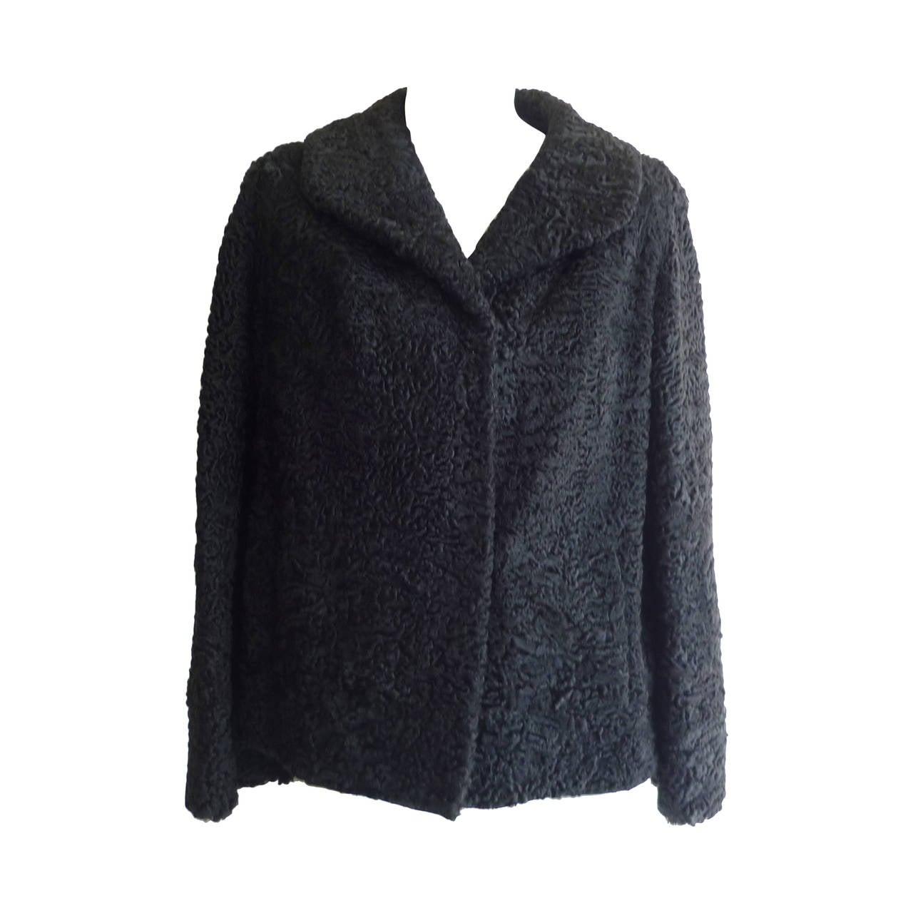1940s - 50s Black Persian Lamb Jacket 6-8