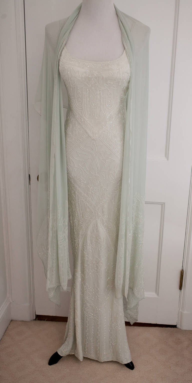Eavis & Brown Stunning Long Beaded Aquamarine Dress 2