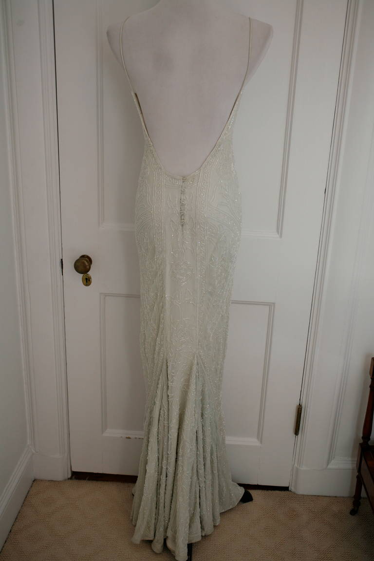 Eavis & Brown Stunning Long Beaded Aquamarine Dress 6