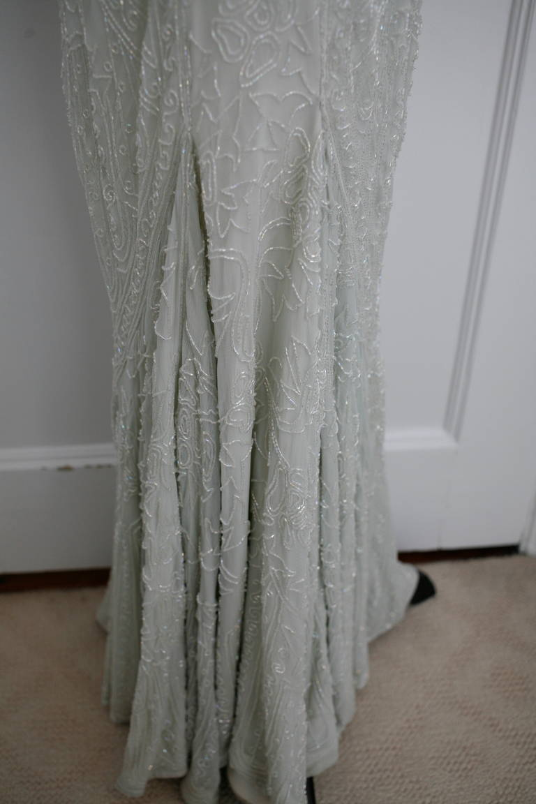 Eavis & Brown Stunning Long Beaded Aquamarine Dress 8
