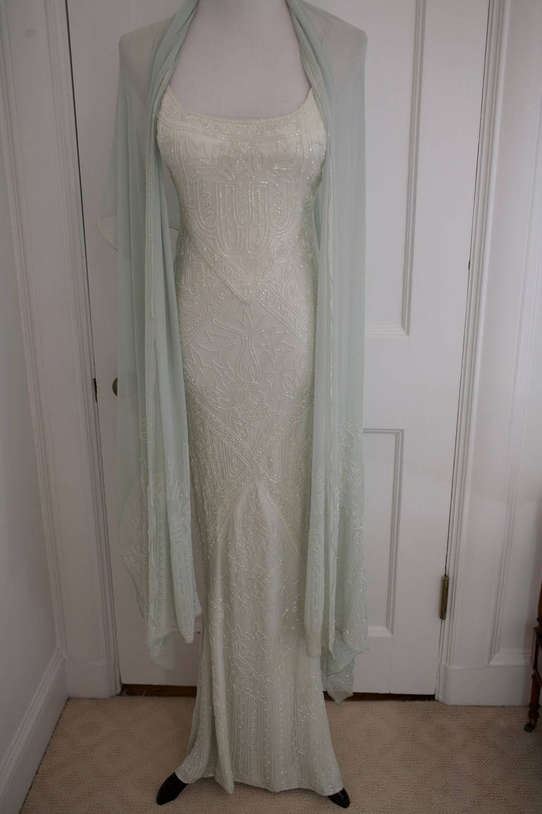 Eavis & Brown Stunning Long Beaded Aquamarine Dress 3