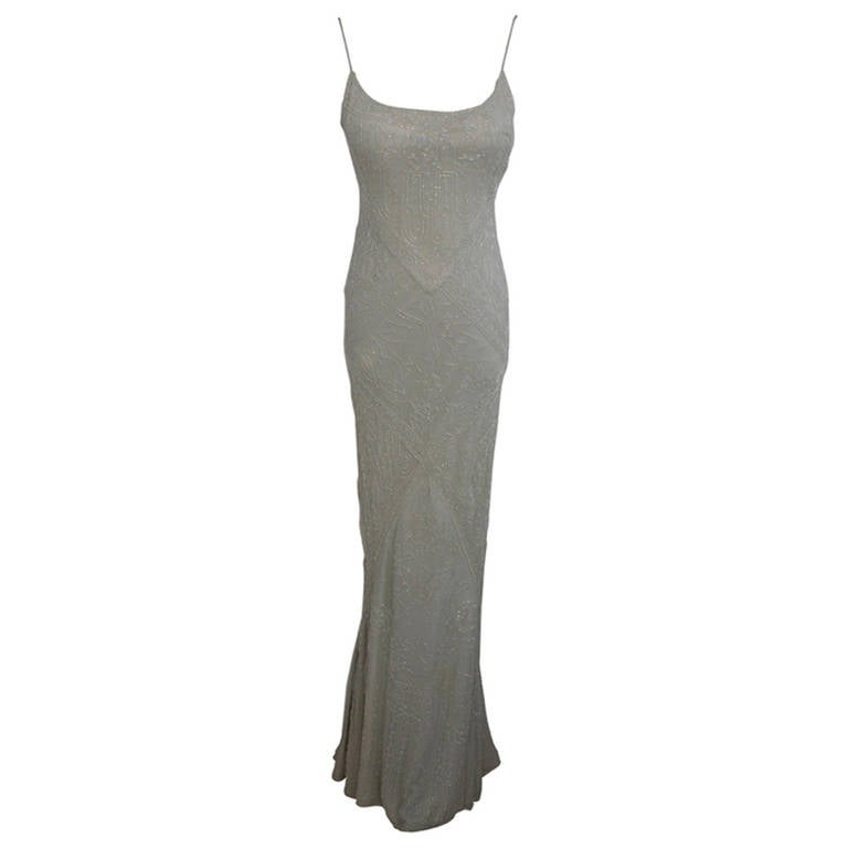 Eavis & Brown Stunning Long Beaded Aquamarine Dress 1
