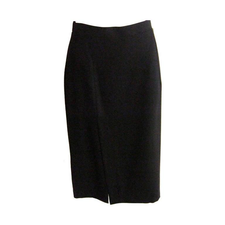 Ines de la Fressange Black Wool Skirt Never Worn For Sale