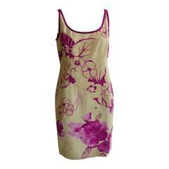 1990s Valentino Silk Brocade Floral Dress