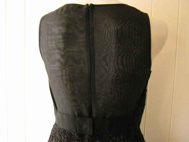 J. Mendel Gold Metallic and Textured Black Tiered Dress For Sale 1