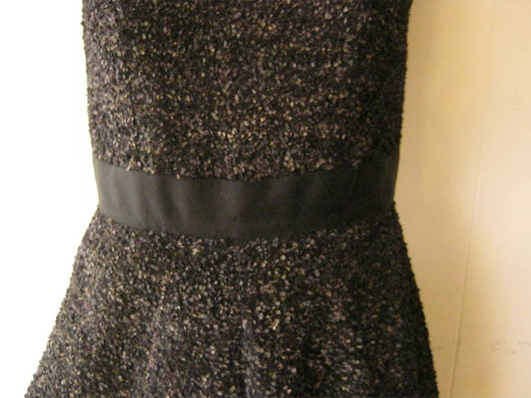 J. Mendel Gold Metallic and Textured Black Tiered Dress For Sale 2