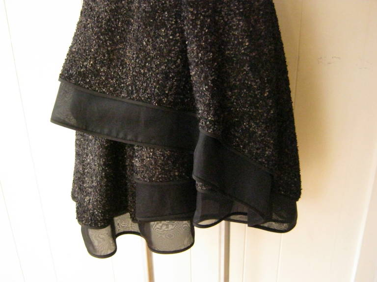 J. Mendel Gold Metallic and Textured Black Tiered Dress For Sale 3