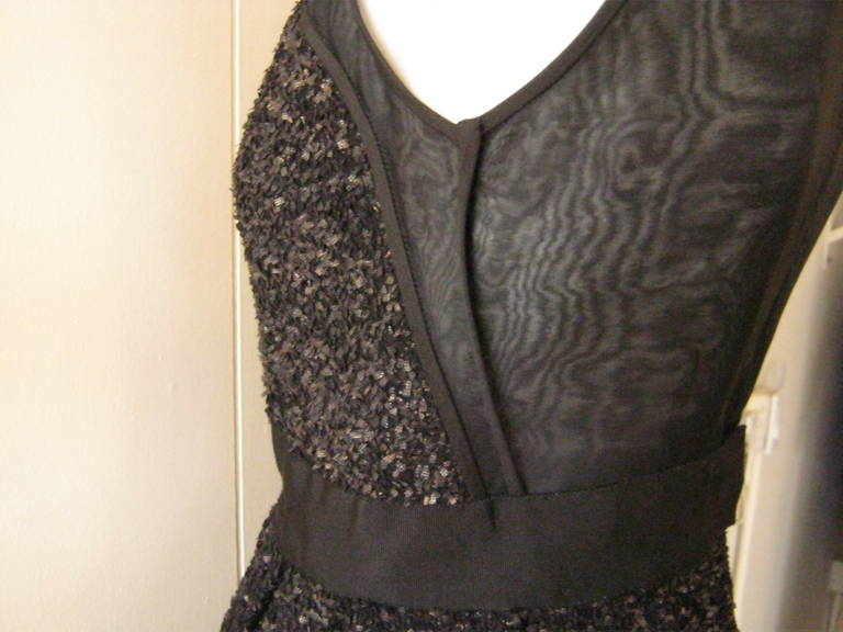 J. Mendel Gold Metallic and Textured Black Tiered Dress For Sale 4