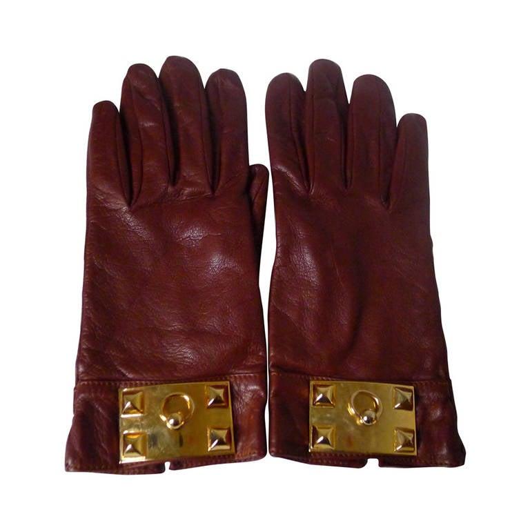 Hermes Collier de Chien Cognac Gloves