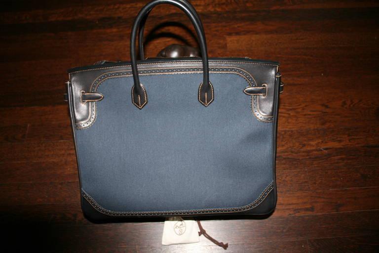 f9c1ccb4f103 Limited Edition 2013 (Q) HERMES Birkin Denim Ghillies 40cm Bag .