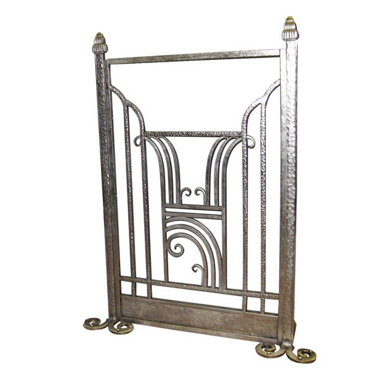 French Art Deco Hammered Iron Fire Screen Charles Piguet 1925 At 1stdibs