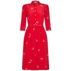1970s Cacharel Red Silk Dress