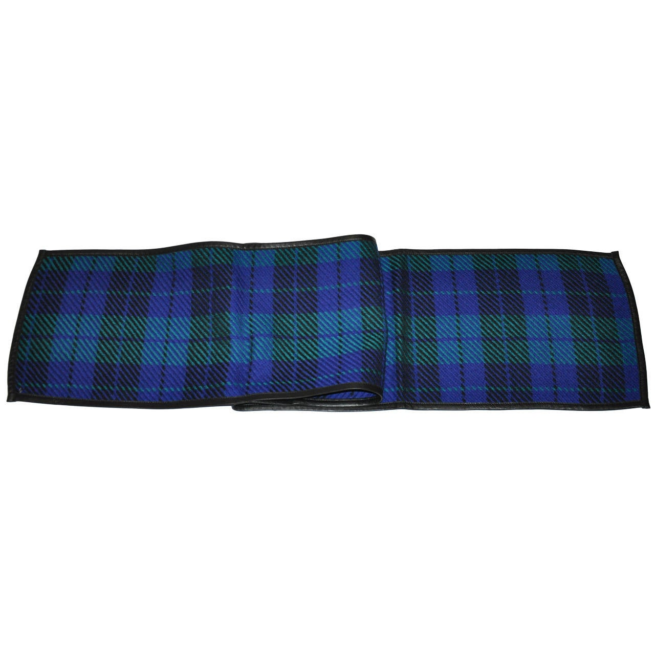 Valentino Multi-Color Wool Plaid With Lambskin Leather Edge Scarf