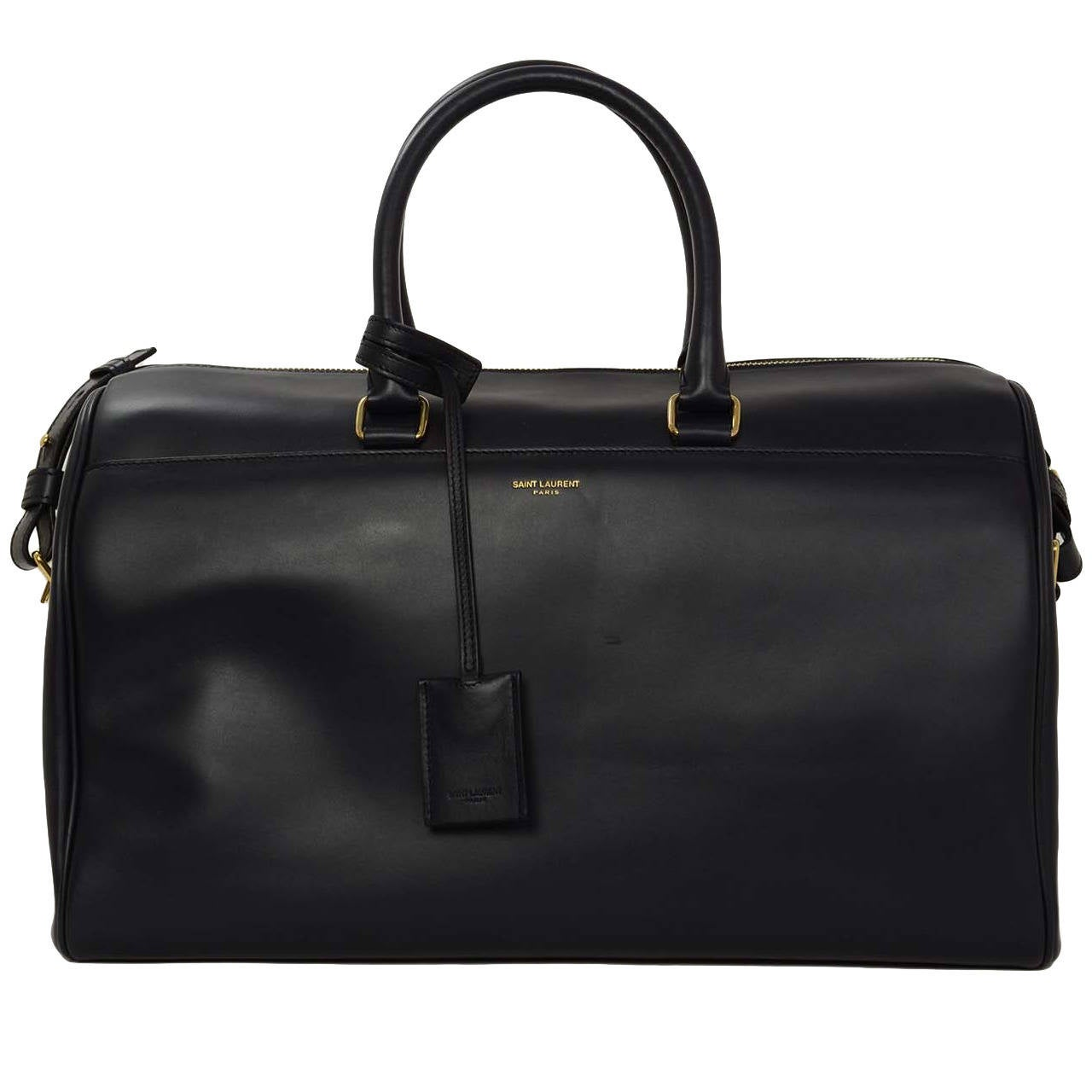 30448e98fdad SAINT LAURENT Smooth Leather Navy Classic Duffle 12 Bag rt.  2650 For Sale