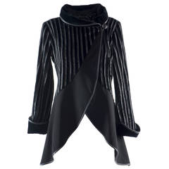 Emporio Armani Black Cotton & Leather Jacket