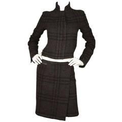 BURBERRY Brown Wool Nova Plaid Skirt & Jacket Set sz US4