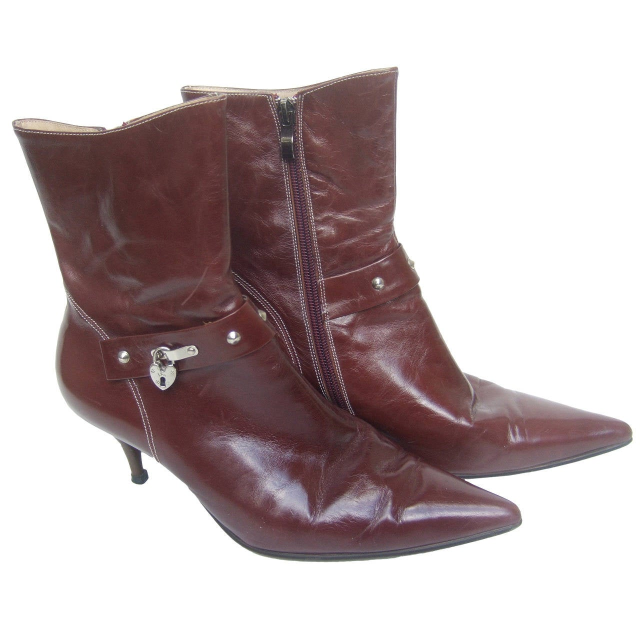 Dior Brown Leather Ankle Boots with Lock & Key Charms Size 40