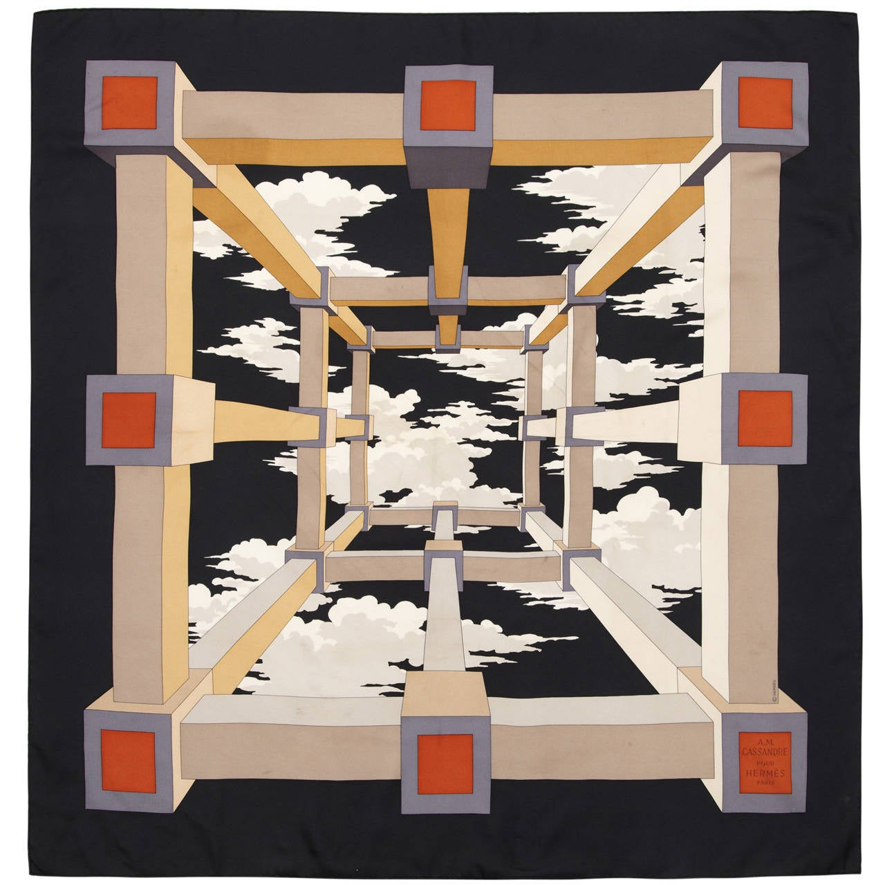1950s Black and Grey 'Perspective' Hermes Silk Scarf 1