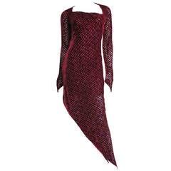 1990s Karl Lagereld Asymmetric Silk Dress