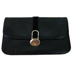 Gucci black leather clutch handbag