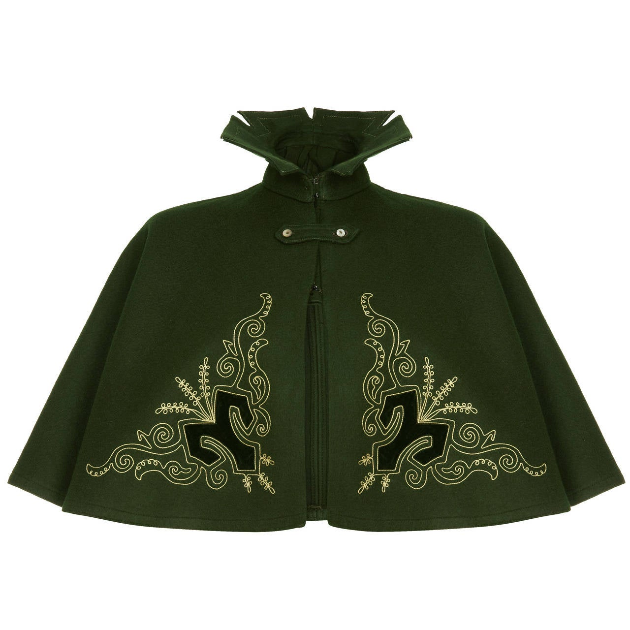 Victorian Green Felt Wool Cape 1