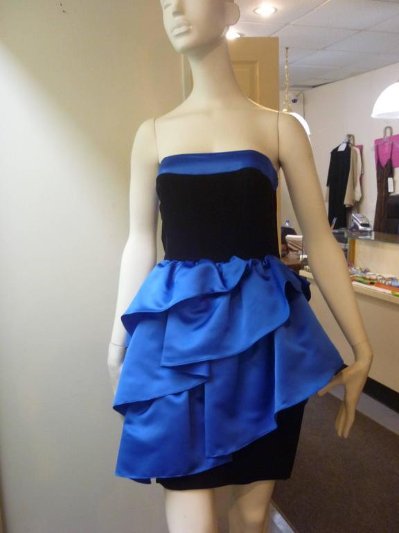 Perfect 1980s Louis Feraud Strapless Cocktail Dress 3