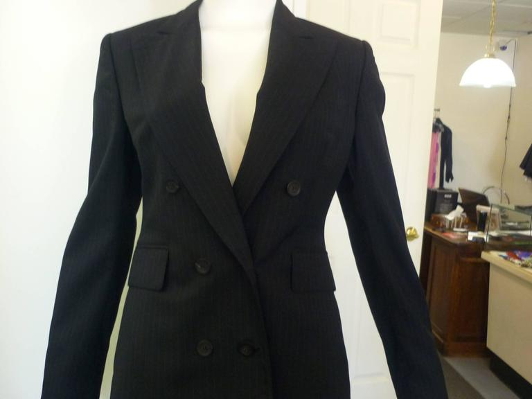 Tom Ford for Gucci Grey Pinstripe Double Breasted Skirt Suit Pants ...