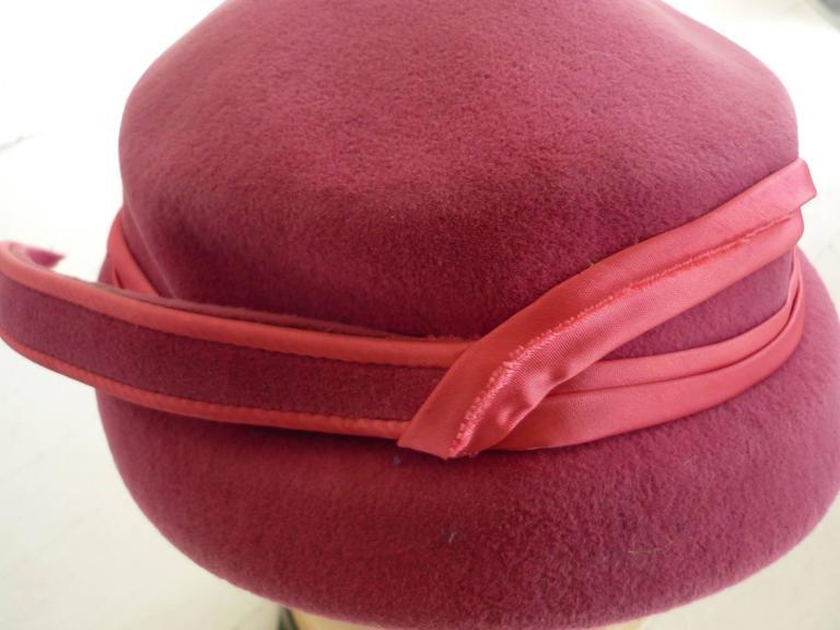 Brown Richard Original Pink Felt Hat, 1950s  For Sale