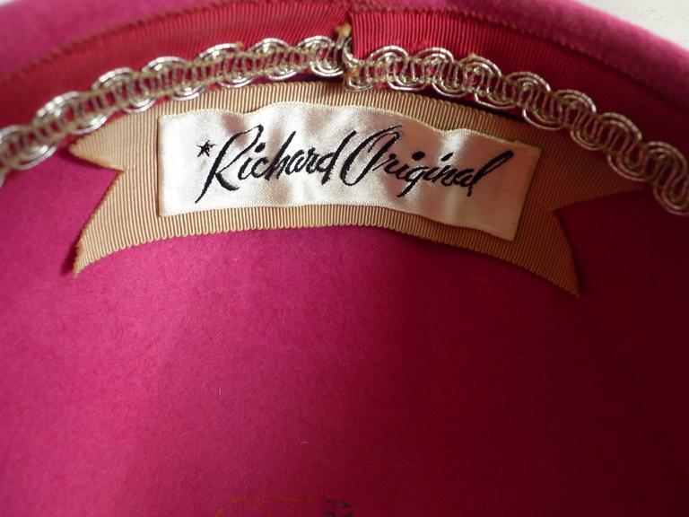 Women's Richard Original Pink Felt Hat, 1950s  For Sale