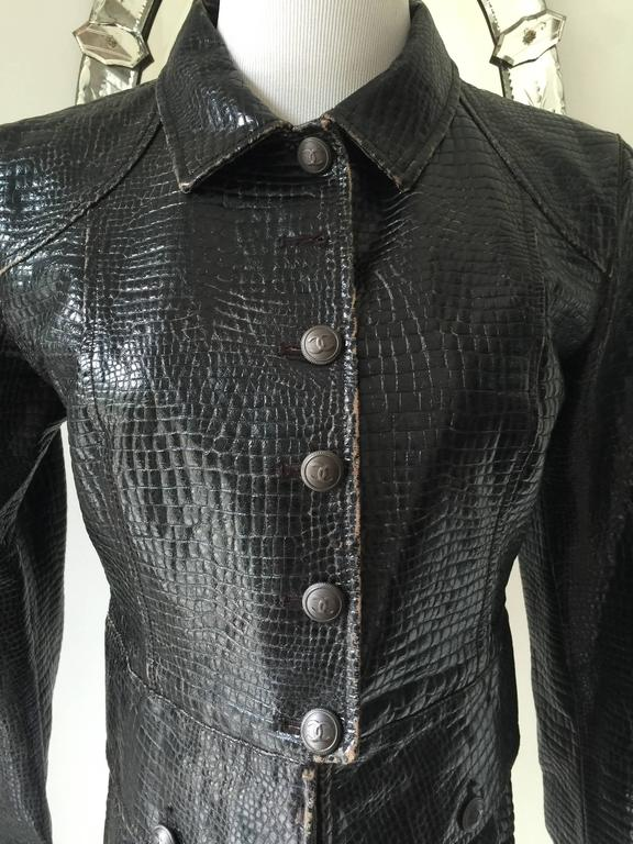 Unique Vegan Croc Embossed Chanel Jacket Sz. 42 In Excellent Condition For Sale In Toronto, CA
