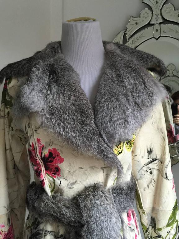 Dolce&Gabbana Fur and Floral Leather Painted Jacket S. In Excellent Condition For Sale In Port Hope, ON