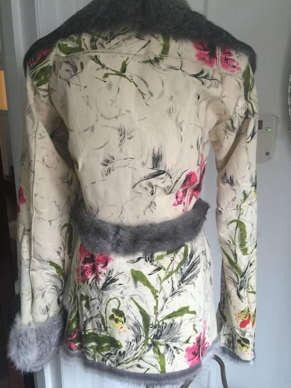Women's Dolce&Gabbana Fur and Floral Leather Painted Jacket S. For Sale