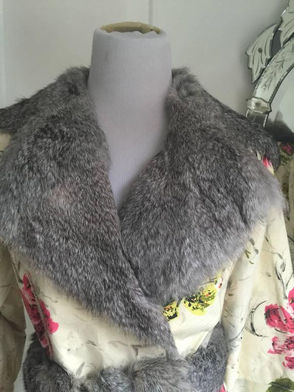 Dolce&Gabbana Fur and Floral Leather Painted Jacket S. For Sale 2