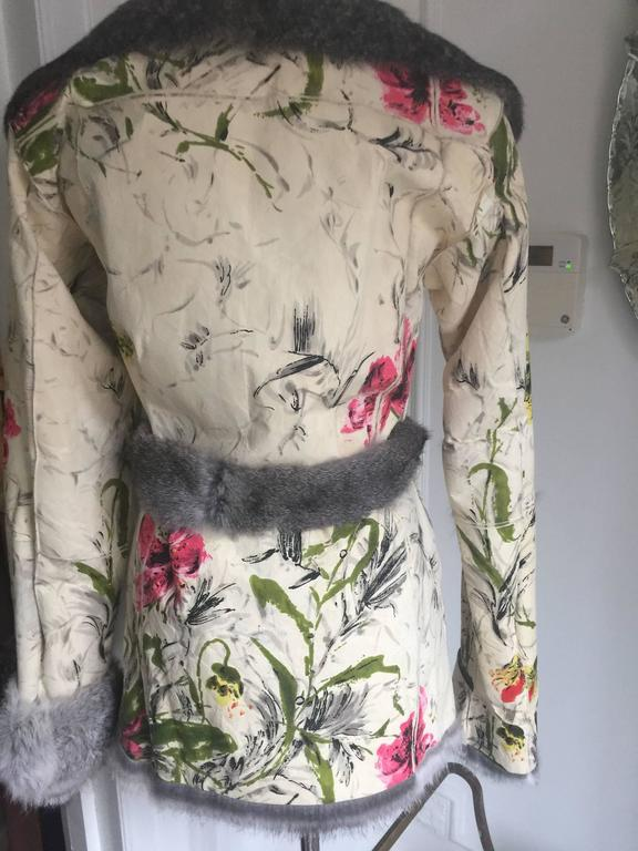 Dolce&Gabbana Fur and Floral Leather Painted Jacket S. For Sale 4
