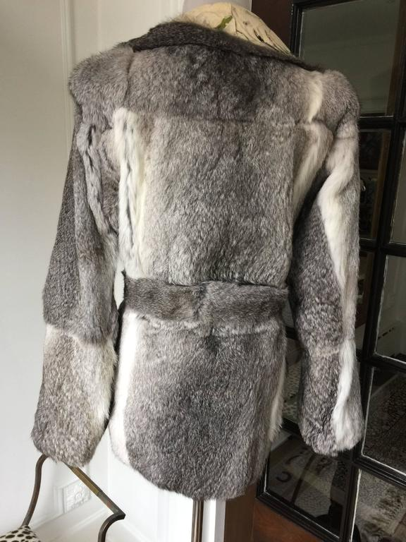 Gray Dolce&Gabbana Fur and Floral Leather Painted Jacket S. For Sale