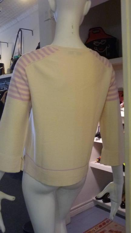 Sonia Rykiel Cream with Pink Stripes Wool Sweater (42 ITL) For Sale 2
