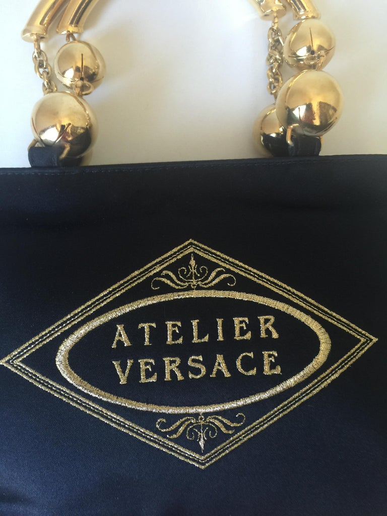 18b860b8b0 Black Vintage Gianni Versace Satin Evening bag For Sale