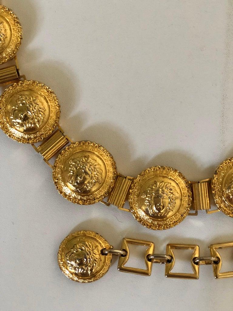 a56772917024 Brown Gianni Versace Gold Medusa Belt For Sale