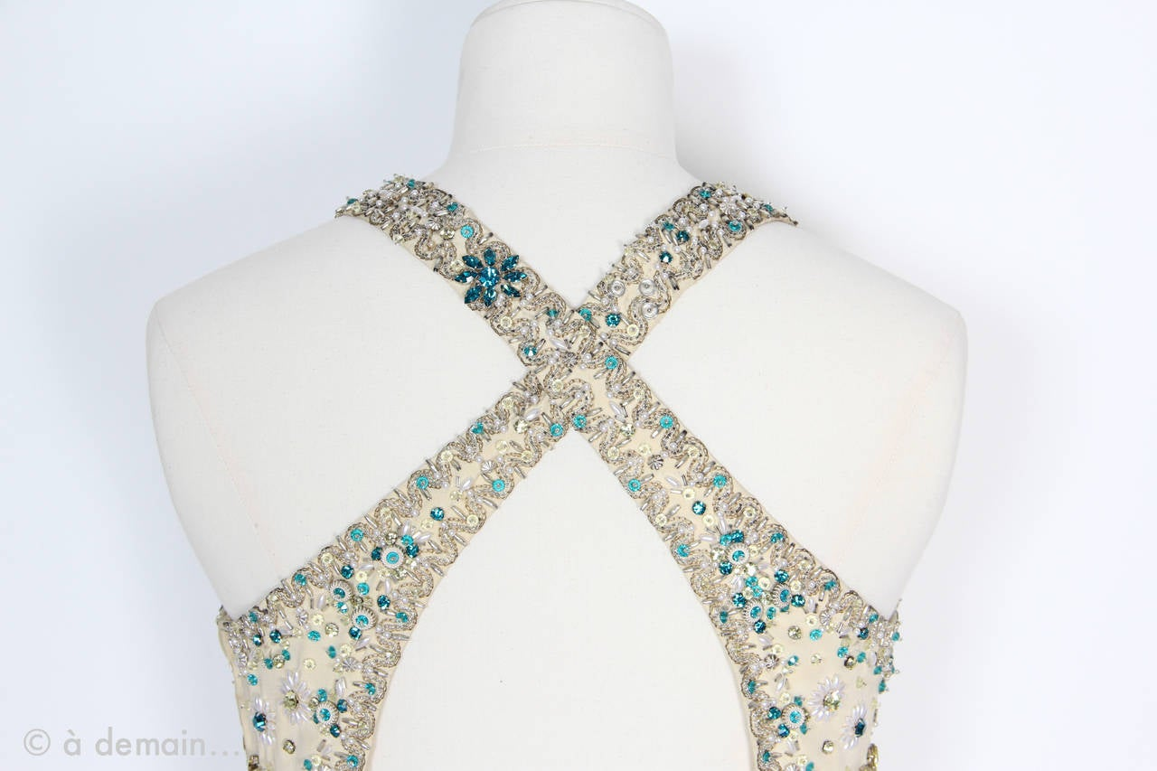 Women's 1963 Evening Dress designed by Marie Clouet and embroidered by Lesage For Sale