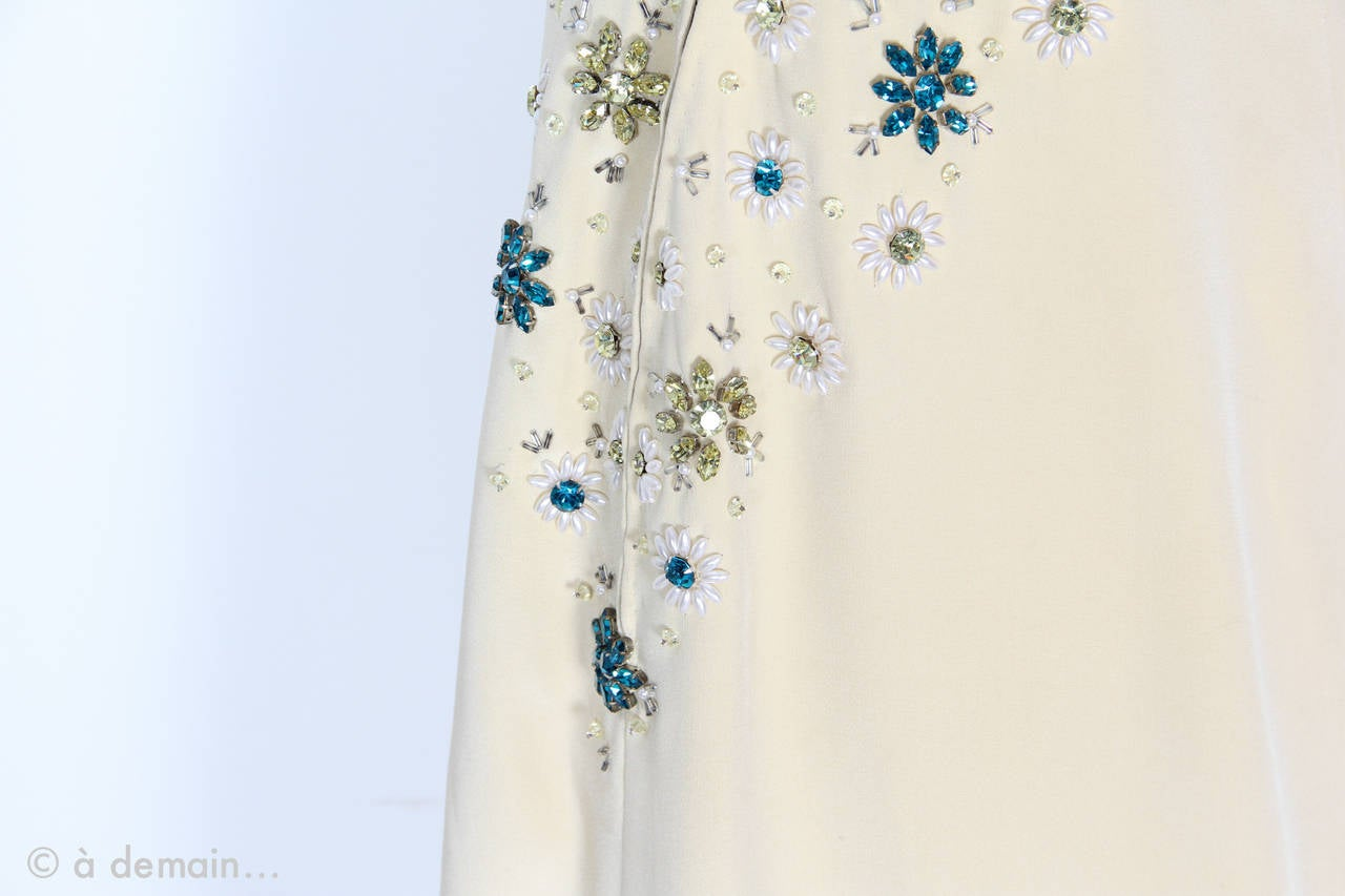 1963 Evening Dress designed by Marie Clouet and embroidered by Lesage For Sale 1