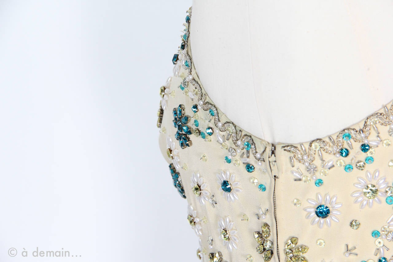 1963 Evening Dress designed by Marie Clouet and embroidered by Lesage For Sale 2
