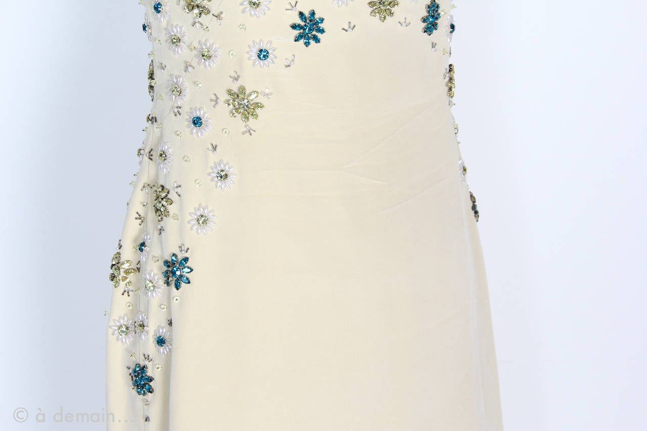 1963 Evening Dress designed by Marie Clouet and embroidered by Lesage For Sale 4