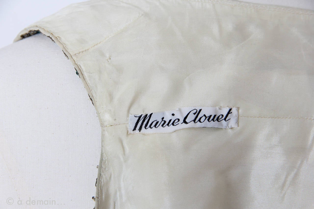 1963 Evening Dress designed by Marie Clouet and embroidered by Lesage For Sale 5