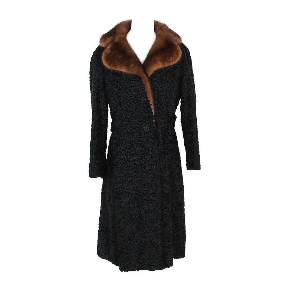 1960s Kasty Coat made of astrakan and mink 1