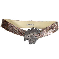 Chloé Haute Couture Belt from 2000s with mother-of-pearl and bird belt buckle